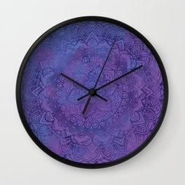 Ultra Violet Retro Mandala Design Wall Clock