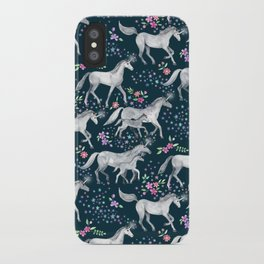 Unicorns and Stars on Dark Teal iPhone Case