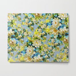 Background Backdrop Patterns Fowers Metal Print