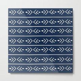 Mudcloth, African, Navy Blue, Boho Wall Art Metal Print