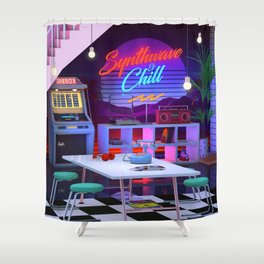 Synthwave And Chill Shower Curtain