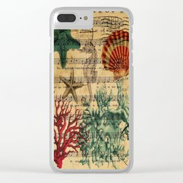 french botanical art music notes starfish seashell Clear iPhone Case