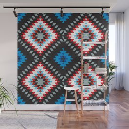 Colorful patchwork mosaic oriental kilim rug with traditional folk geometric ornament. Tribal style Wall Mural