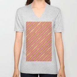 Modern elegant faux gold glitter coral geometric stripes Unisex V-Neck