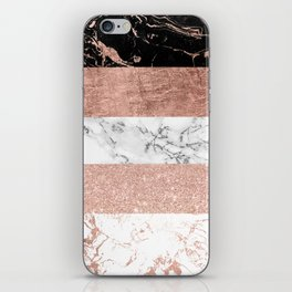 Modern chic color block rose gold marble stripes pattern iPhone Skin