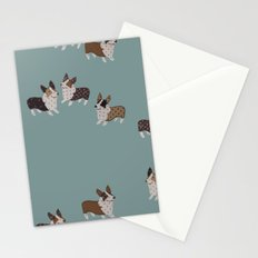 teal corgis Stationery Cards