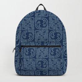 Indigo blue sashiko style japanese embroidery pattern. Backpack