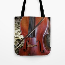 Cello with Bow a Stringed Instrument with Classical Sheet Music Tote Bag