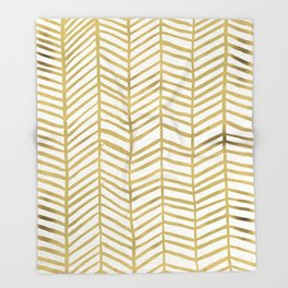 Gold Herringbone Throw Blanket