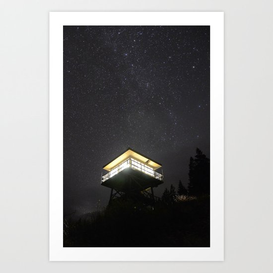 Fire Lookout at Night Art Print