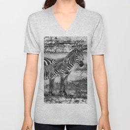 AnimalArtBW_Zebra_20170716_by_JAMColorsSpecial Unisex V-Neck