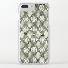 Braided Diamond Simply Green Tea on Lunar Gray Clear iPhone Case
