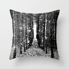 Magical Forest Black White Gray Throw Pillow
