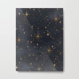 Gold Stars Black Ink Night Sky Magical Mid Century Pattern Metal Print