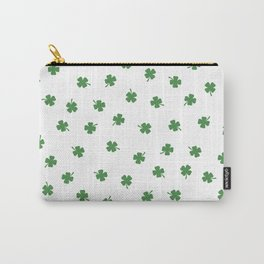 Green Shamrocks White Background Carry-All Pouch