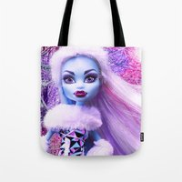 monster high Tote Bags featuring Monster High Abbey Doll MHSQ by KittRen