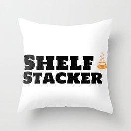 Shelf Stacker & Caffeine Throw Pillow
