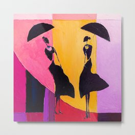 LADIES UNDER UMBRELLAS Metal Print