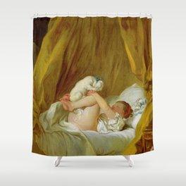 """Jean-Honoré Fragonard """"Girl with a dog (Jeune fille dans son lit, faisant danser son chien)"""" Shower Curtain"""