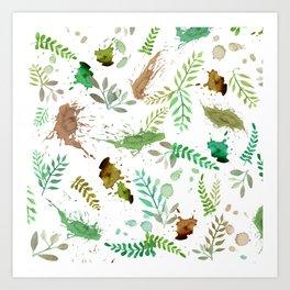 Green Leaves, Paint Splatter, Pattern Art Print