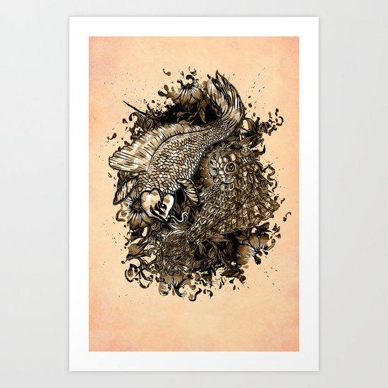 GOLDEN PISCES Art Print