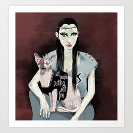 Cat people - Bowie edition. Art Print