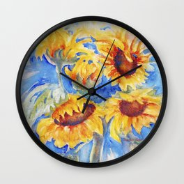 Sunflowers x 5 watercolor by CheyAnne Sexton Wall Clock