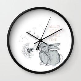 Cute vector hand drawn rabbit holding dandelion Wall Clock