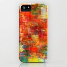 AUTUMN HARVEST - Fall Colorful Abstract Textural Painting Warm Red Orange Yellow Green Thanksgiving Slim Case iPhone (5, 5s)