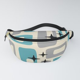 Retro Mid Century Modern Abstract Pattern 223 Blue and Gray Fanny Pack