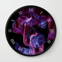 Smoke waves duo color blue pink Wall Clock