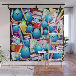 Back to School Cute Blue Birds Wall Mural