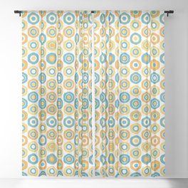 Buttons - Geometric Pattern in Turquoise, Orange, Yellow, and White Sheer Curtain