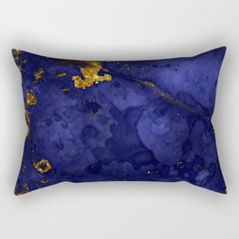 Gold Blue Indigo Malachite Marble Rectangular Pillow