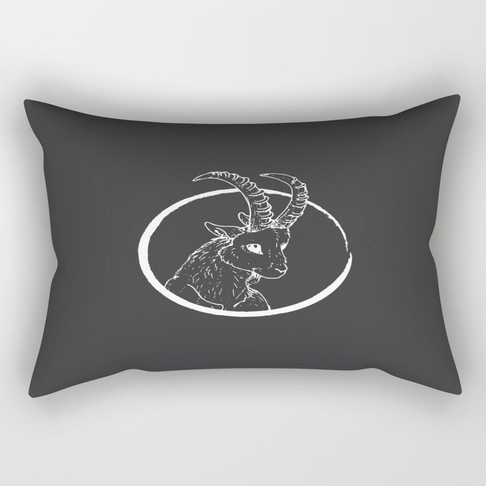 Pen & Ink Goat Tattoo White Rectangular Pillow RPW8757662