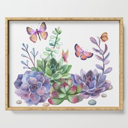 A Splendid Secret Succulent Garden With Butterfly Visitors Serving Tray