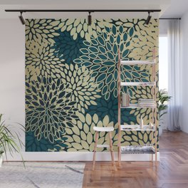 Floral Decor Pattern, Petal Blooms, Teal Green and Gold Wall Mural