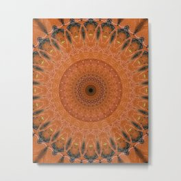 Ornamented mandala in orange tones Metal Print