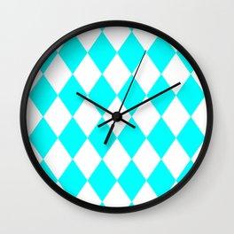 Diamonds (Aqua Cyan/White) Wall Clock