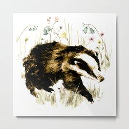 Bluebell Badger Metal Print