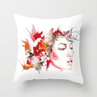 oriental Throw Pillows featuring oriental by Lua Fraga