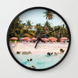 Pig Beach 2 Wall Clock