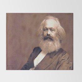 Portrait of Karl Marx by John Jabez Edwin Mayal Throw Blanket