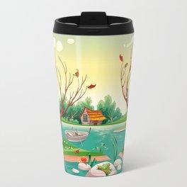 Pond and animals.  Travel Mug