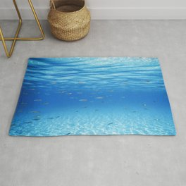 School of Fish Swimming over Sand Bottom in the Tropical Sea Rug