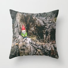 Oli the Gnome in His Summer House Throw Pillow