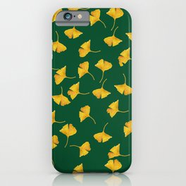Golden Gingko Leaves on Green  iPhone Case