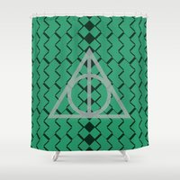 slytherin Shower Curtains featuring The Deathly Hallows- Slytherin by cinefuck