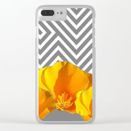 ABSTRACT CONTEMPORARY YELLOW POPPIES PATTERNS Clear iPhone Case