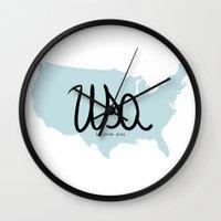 usa Wall Clocks featuring USA by Gabriela Fuente